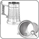 Большая кружка для пива из олова с королевским шиллингом