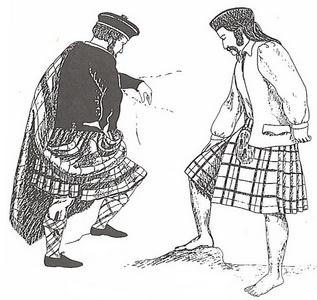 Изображение шотландцев, одетых в большой и малый килт