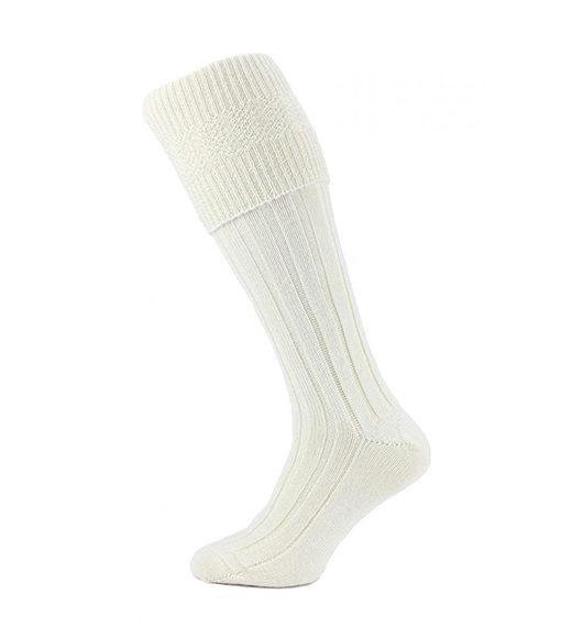 Шерстяные носки под килт бежевого цвета.