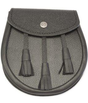 Кожаный спорран (шотландская поясная сумка) черного цвета