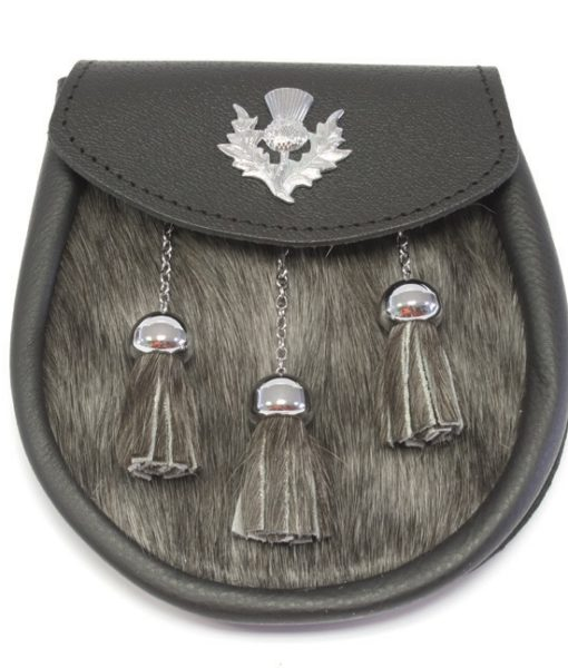 Кожаный спорран с меховой вставкой и изображением чертополоха