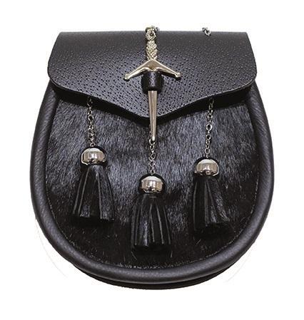 Черный кожаный спорран с застежкой в виде меча