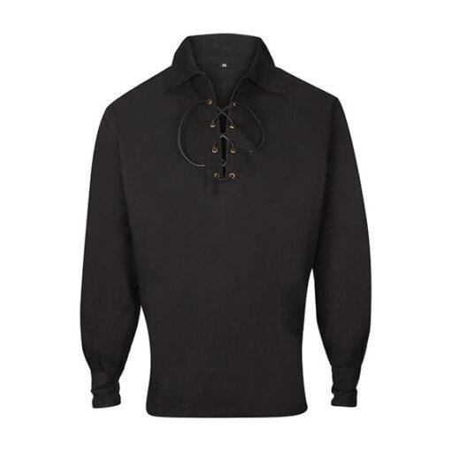 Шотландская рубашка черного цвета от магазина Kilt Shop. Вид спереди.