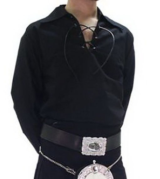 Шотландская рубашка черного цвета от магазина Kilt Shop. Общий вид.