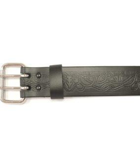 Кожаный ремень GMB033 с пряжкой и анималистическим узором