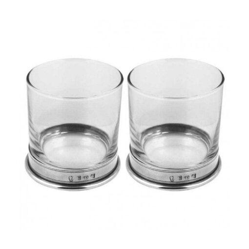 Набор стаканов для виски с оловянным обрамлением