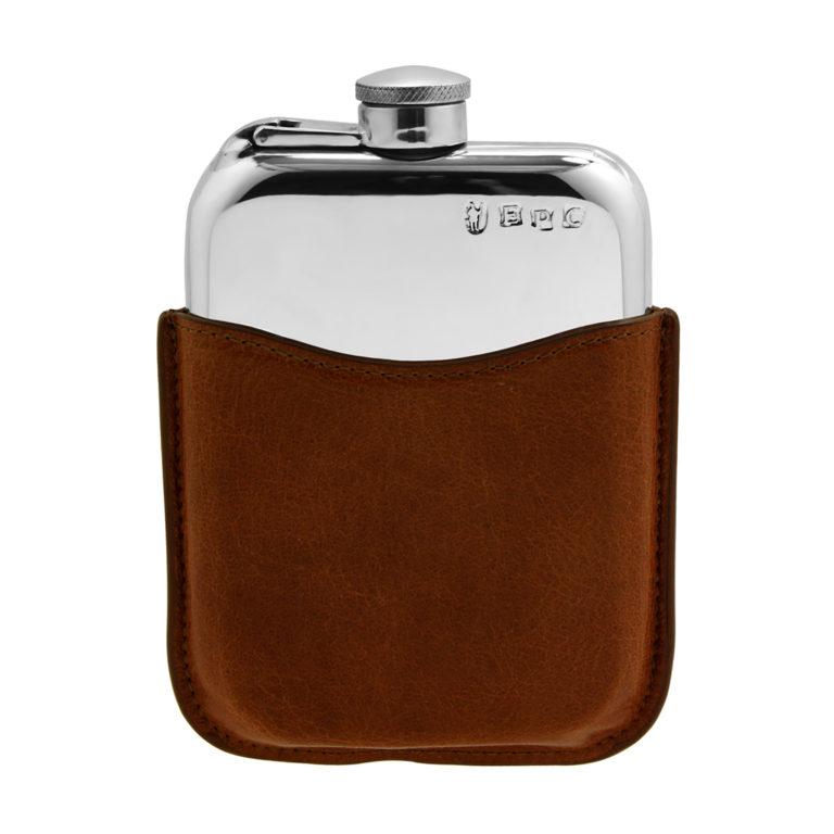 Прямоугольная карманная фляга English Pewter PLF02 в кожаном коричневом чехле