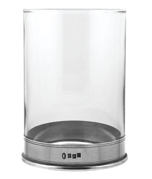 Стеклянный подсвечник с основанием из олова VG080