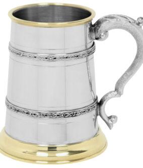 Пивная кружка English Pewter с кельтскими поясами и латунным декором EP152